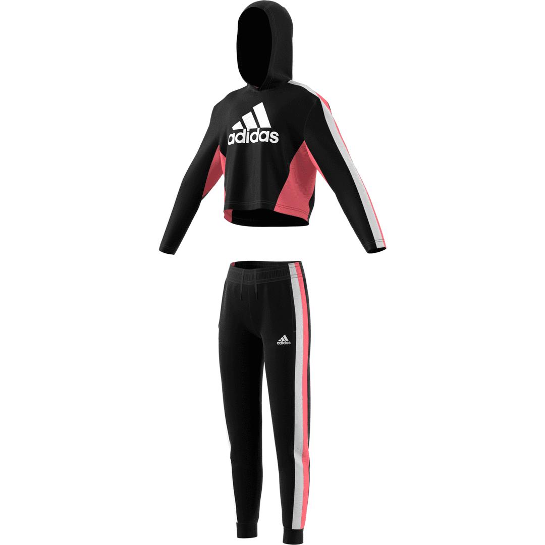 Adidas Girls Hooded Cropped Top Tracksuit Black/White/Hazros - 9-10 J