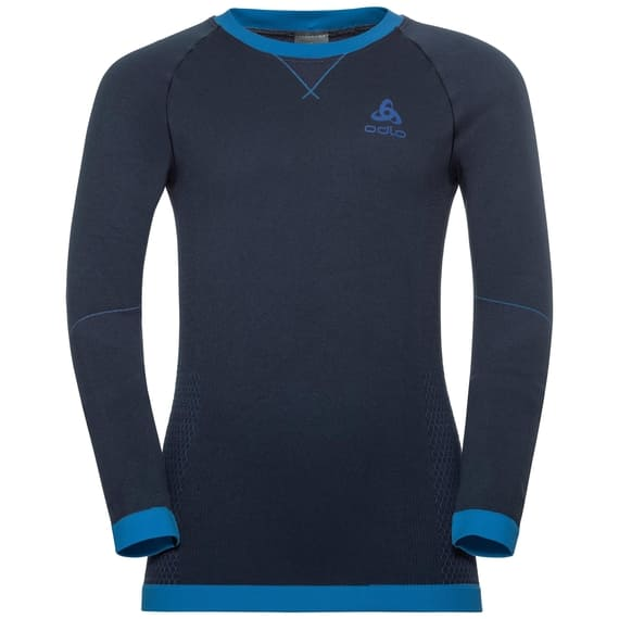ODLO BL TOP CREW NECK L/S PERFORMANCE WARM KI - DIVING NAVY / ENERGY BLUE - 140