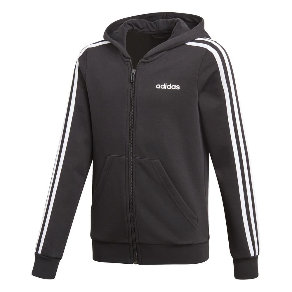 Adidas Girls Fleece Hoodie Black/White - XS