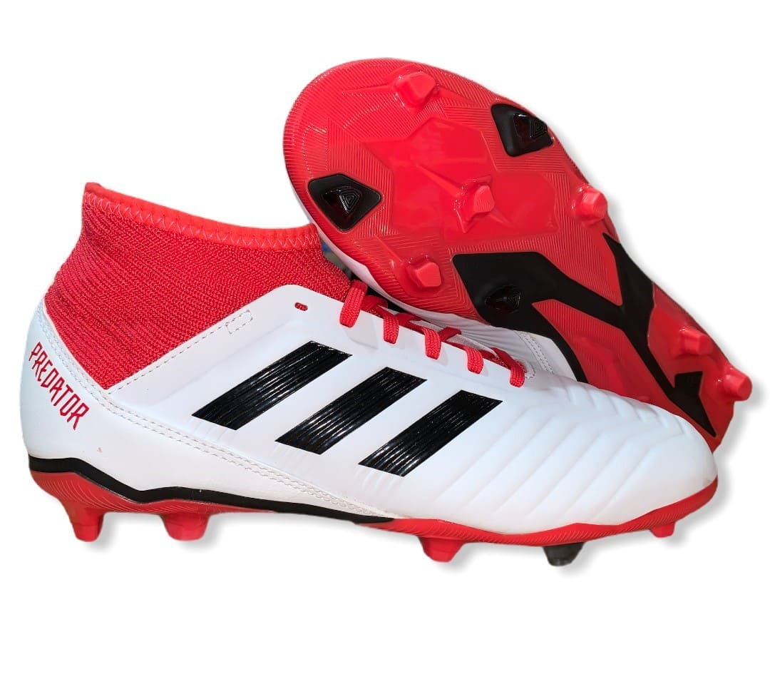 Adidas Predator 18.3 FG J White/Red - 5 UK