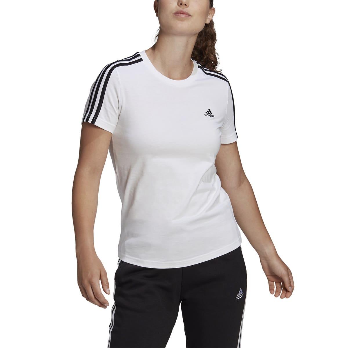 ADIDAS ESSENTIALS SLIM T-SHIRT WHITE/BLACK - XS